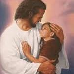 Jesus holding girl