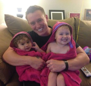 Trent with the girls, Sept 2015 - towels