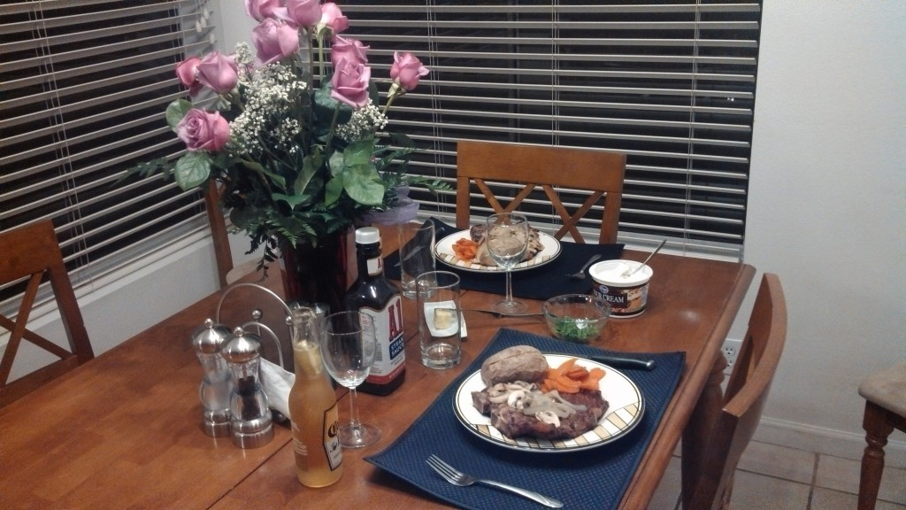 Date Night Plates with flowers and wine