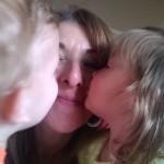 Kai & Eden kissing Mimi April 2015